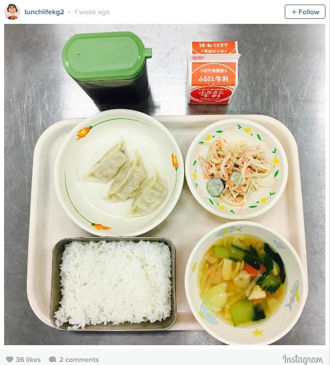 Một bữa trưa đầy đủ chất dinh dưỡng của học sinh Nhật