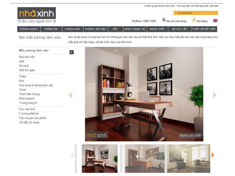 Trang web nhaxinh.com được thiết kế rất tinh tế bằng một đường gân xám bắt ngang tạo cho người dùng một cảm giác sang trọng