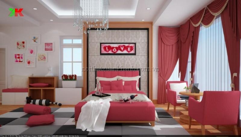 Không gian phòng ngủ lãng mạn sẽ giúp cả hai có một đêm valentine đáng nhớ đó