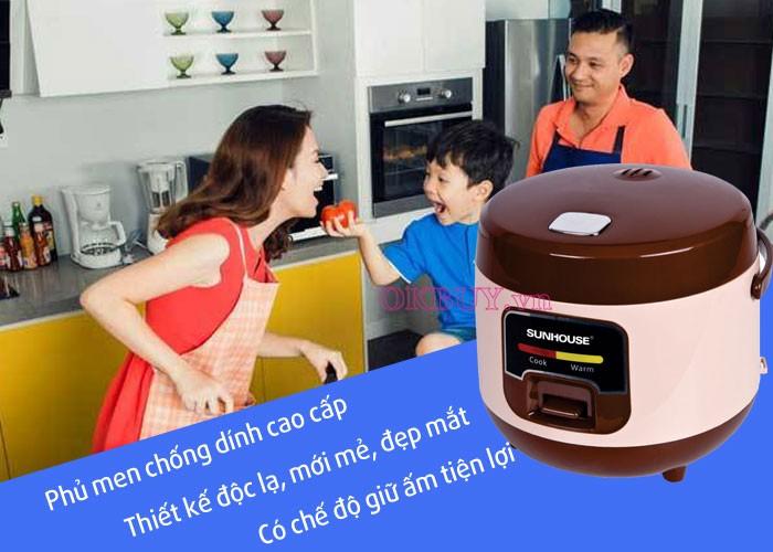 Nồi cơm điện Sunhouse SHD-8208 có dung tích 1 lít  có thể nấu được đến 1 kg gạo phù hợp với gia đình ít thành viên