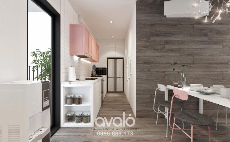 Căn bếp tuy không quá rộng rãi, nhưng được thiết kế tối ưu về công năng sử dụng của một căn bếp hiện đại