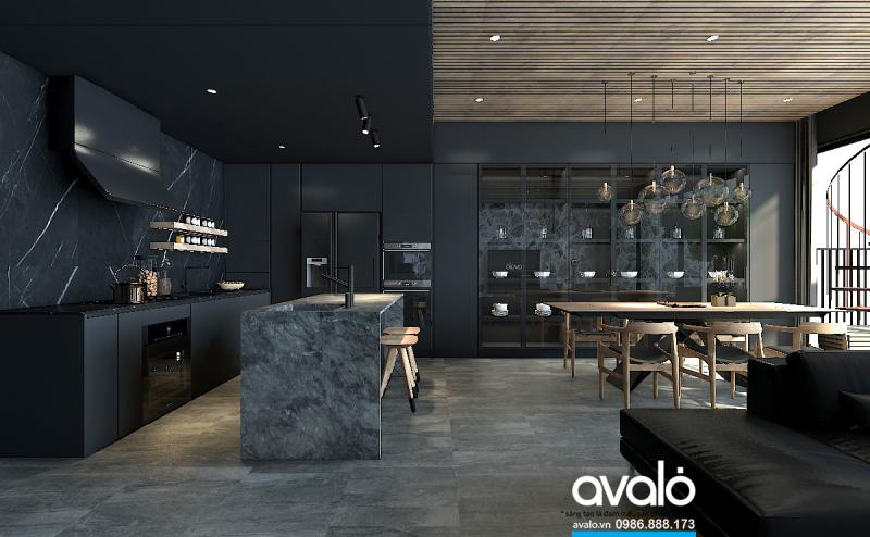 Không gian bếp là một không gian gọn gàng và đầy đủ công năng tối ưu nhất của một nhà bếp hiện đại.