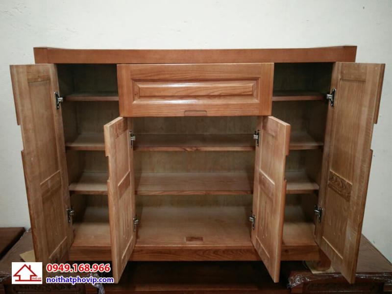 Tủ giày gỗ xoan màu cánh gián mang lại cảm giác đầm ấm cho căn nhà