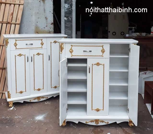 Mẫu tủ sơn trắng hoa văn dát mạ vàng sang trọng