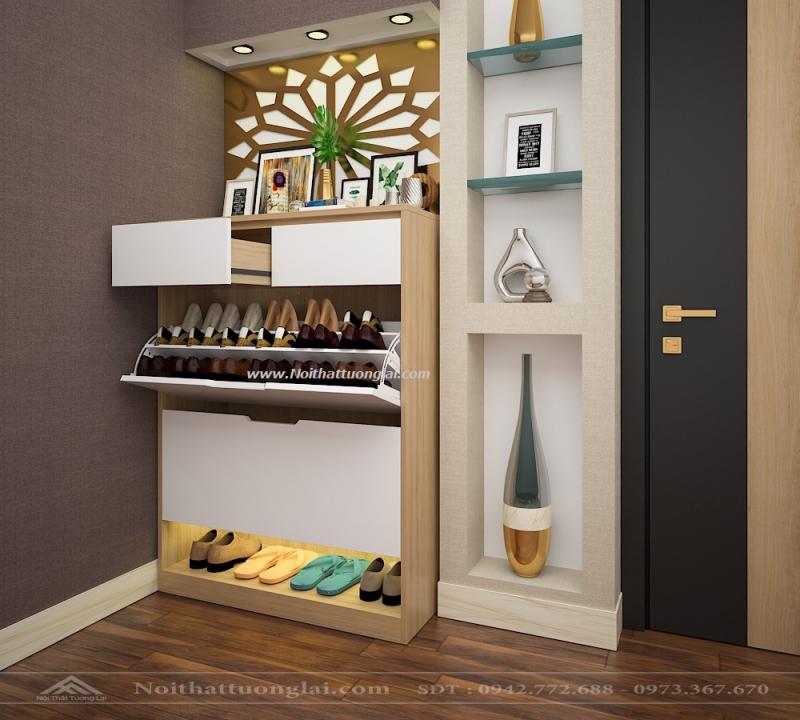 Một chiếc tủ giày xinh xắn, trang nhã ở góc phòng sẽ làm tôn thêm nét tinh tế trong cách chọn nội thất của gia chủ