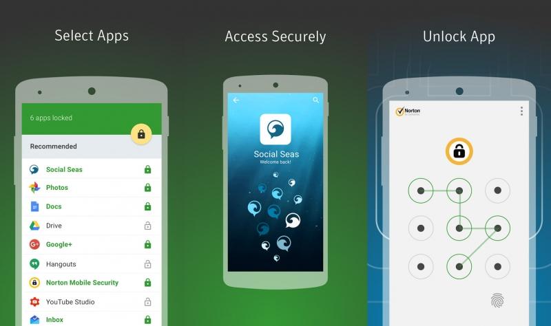Một số hình ảnh bên trong ứng dụng Norton App Lock