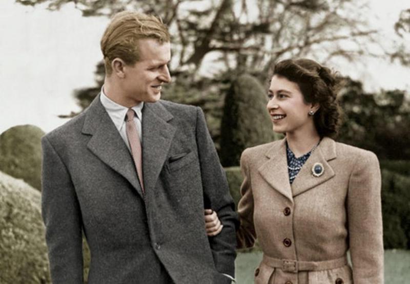 Vợ chồng  Nữ hoàng Anh Elizabeth thời trẻ.