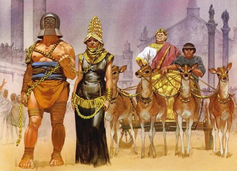 Zenobia bị người La Mã đem đi diễu binh