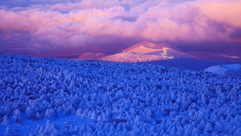 Núi Hanllasan bao phủ một màu tuyết trắng mùa đông