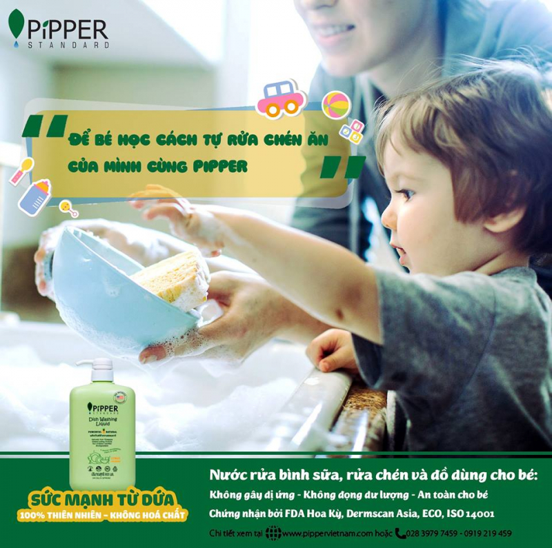 nước rửa chén Pipper Standard.cùng bé làm việc nhà