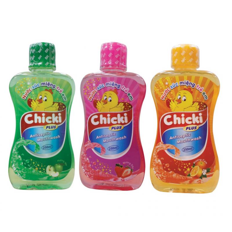 Nước súc miệng Chicki với 3 hương thơm dịu nhẹ cho bé lựa chọn