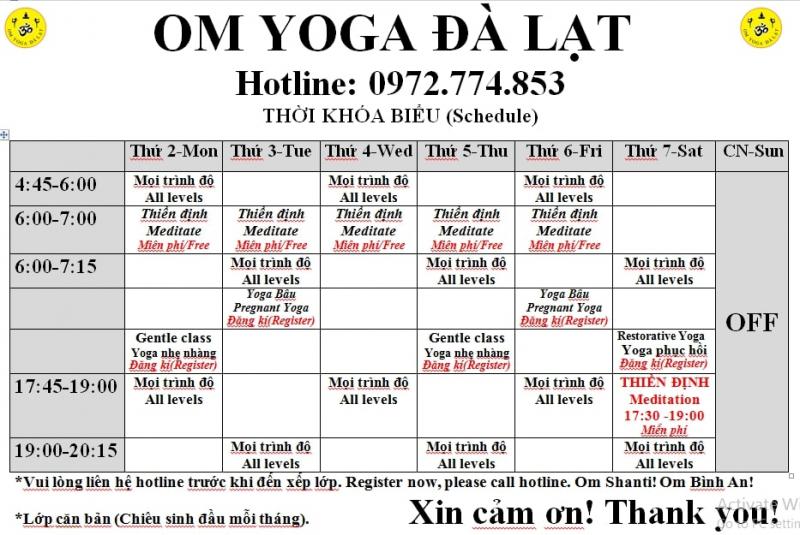 Lịch tập tại OM Yoga Đà Lạt