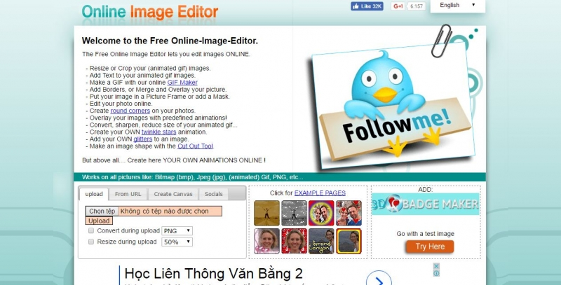 Giao diện trang web Online Image Editer (OIE)