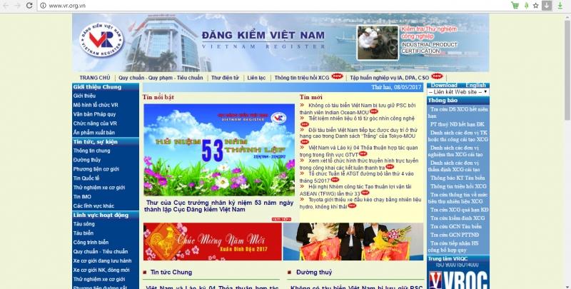 Cục đăng kiểm Việt Nam sử dụng tên miền .org