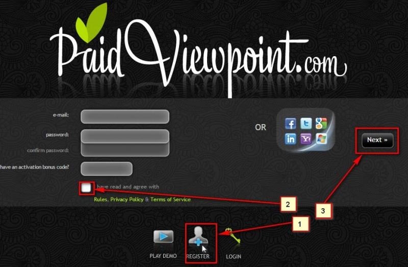 Giao diện trang chủ PaidViewPoint PVP
