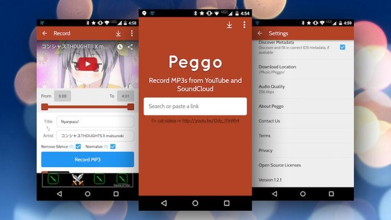 Peggo này cho phép bạn chuyển video YouTube hay các clip SoundCloud trở thành một file MP3