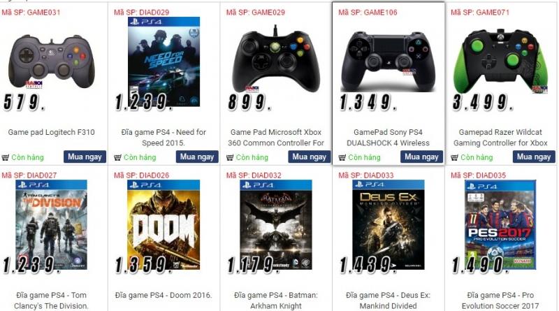 Sản phẩm game, ps3, ps4... của Công ty Cổ phần máy tính Hà Nội