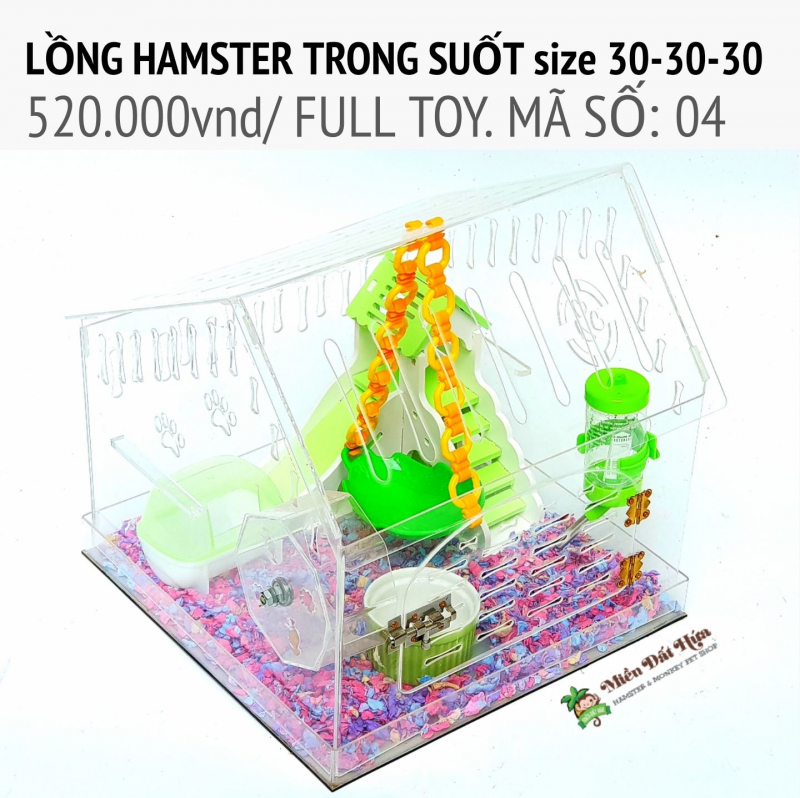 Lồng Hamster trong suốt size 30-30-30 MS04 mức giá 520 000 đồng