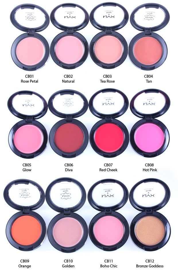 """Bảng màu """"khủng"""" của NYX Rouge Cream Blush."""