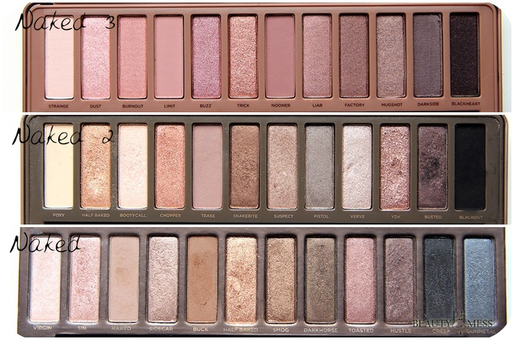 So sánh 3 bảng Urban Decay Naked Palette