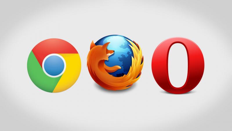 Các trình duyệt web Chrome. Firefox và Opera