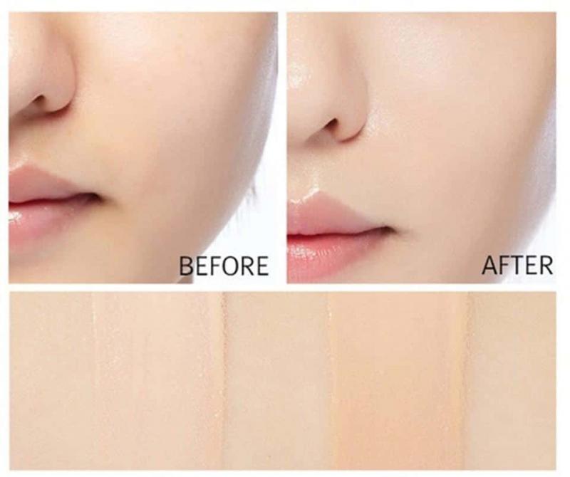 Trước và sau khi đánh phấn nước trang điểm của Missha