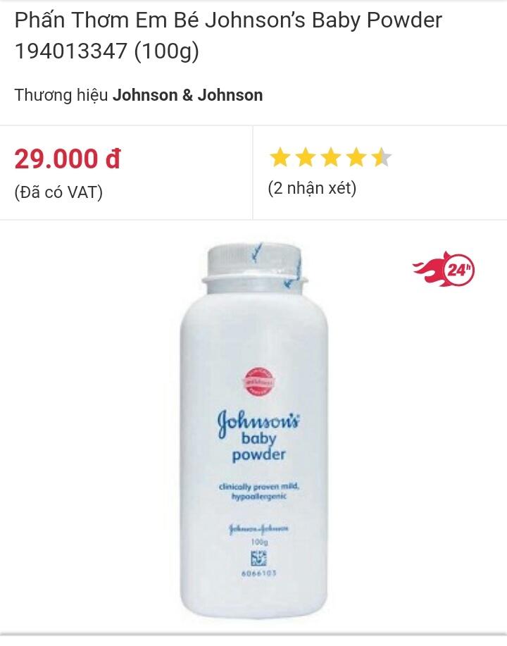 Phấn rôm Johnson's baby powder 100g được bán online trên mạng