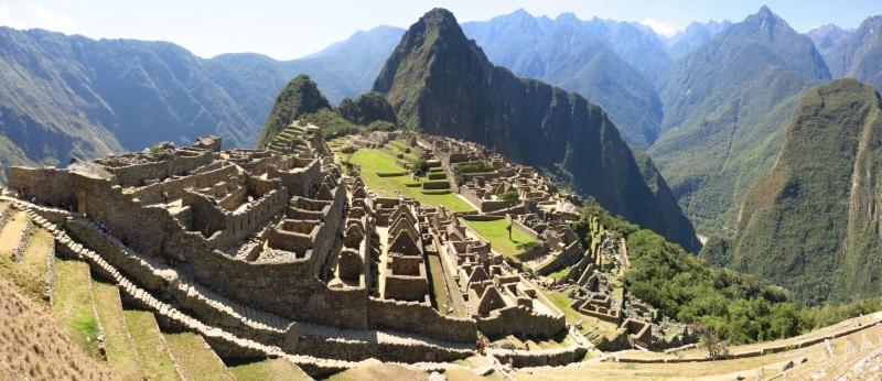 Pháo đài Machu Picchu nhìn từ trên cao