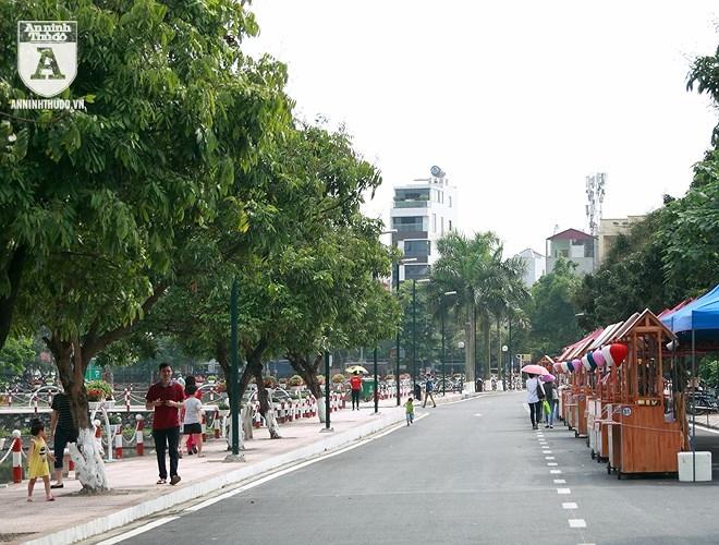 Những gian hàng gắn xe đẩy trên phố đi bộ Trịnh Công Sơn