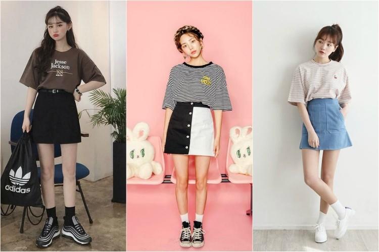 Phối chân váy chữ A cùng áo sơ mi hoặc áo phông