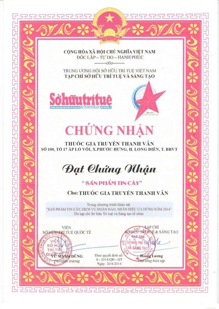 Giấy chứng nhận của Phụ Khoa Thanh Vân