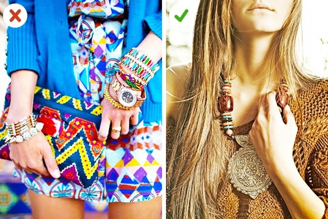 Phụ kiện Bohemian thì nên kết hợp với quần áo gam màu trầm hoặc màu tối