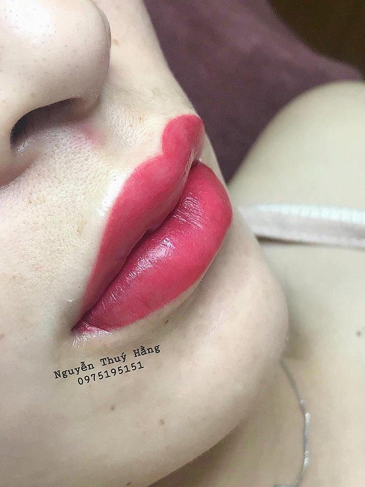 Một mẫu môi khác do chính tay chủ spa Nguyễn Thúy Hẳng thực hiện.