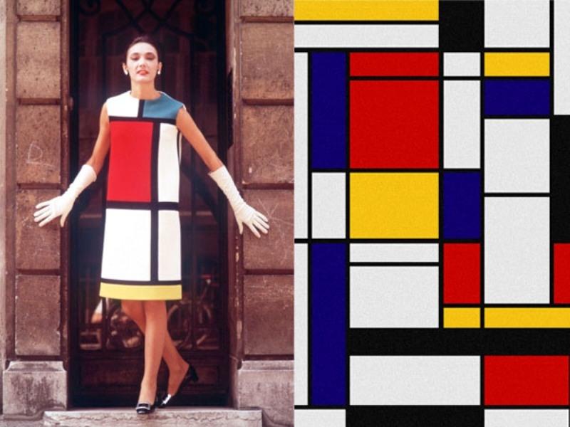 Chiếc váy được thiết kế theo công thức Tân tạo hình của Piet Mondrian