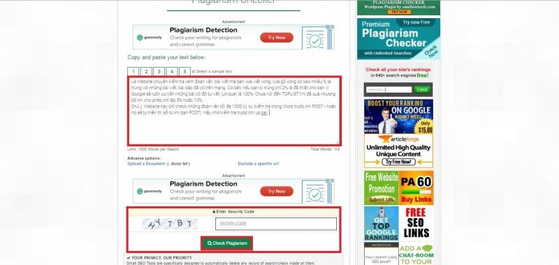 Plagiarism Checker - Kiểm tra đạo văn
