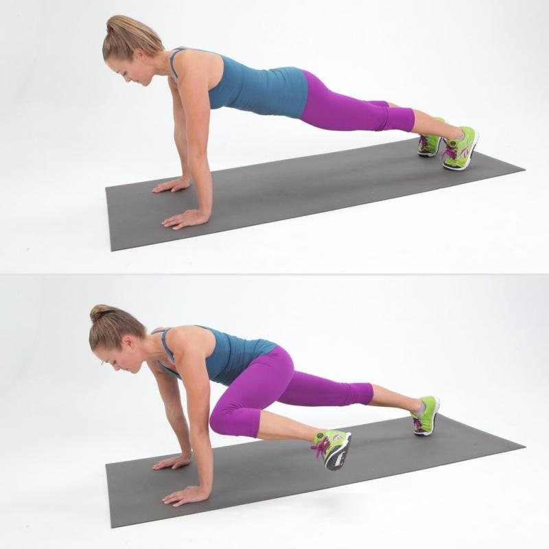 Plank kéo gối làm bụng phẳng và săn chắc xương cột sống