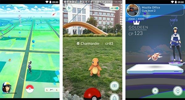Giao diện game Pokemon GO