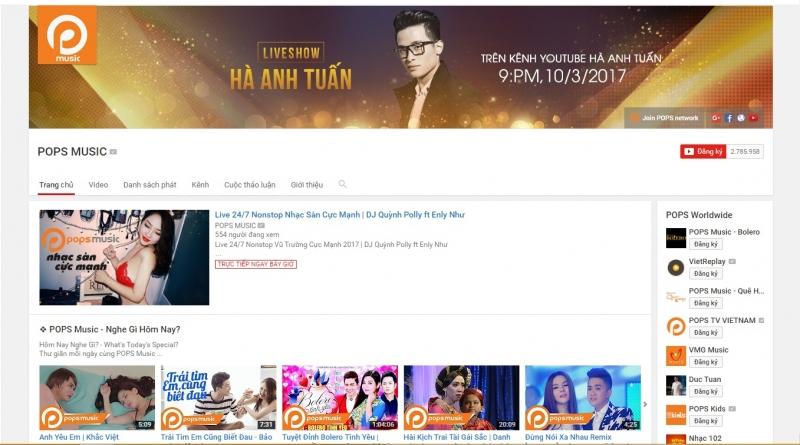 Kênh Youtube của Pops Music đang là một trong những kênh truyền hình được theo dõi nhiều nhất ở Việt Nam.