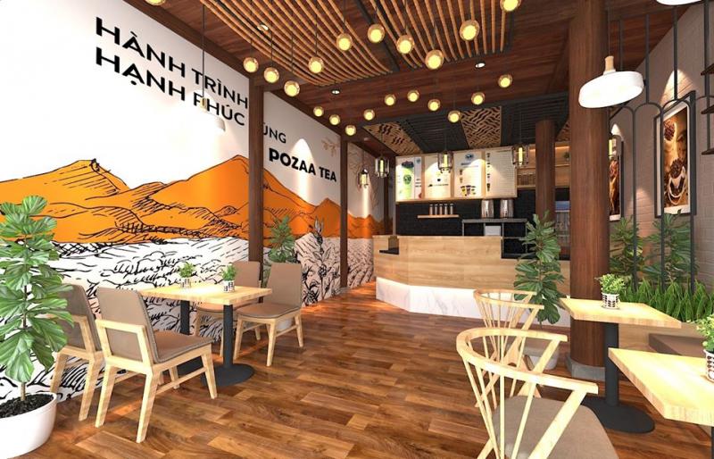 Không gian quán rộng rãi, được trang trí đẹp mắt (Nguồn: Fanpage: Pozza Tea Lê Duẩn Tp Vinh)