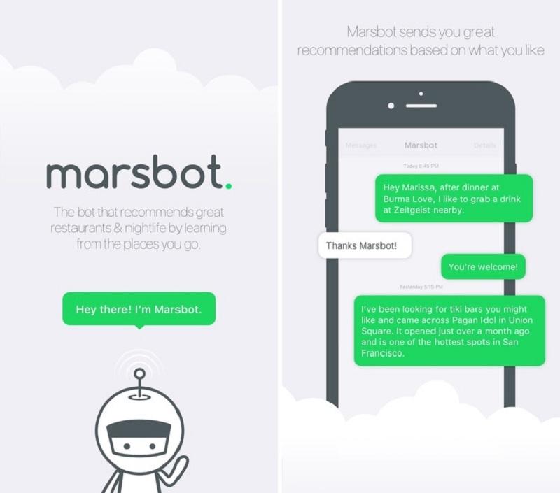 Giao diện ứng dụng Marsbot