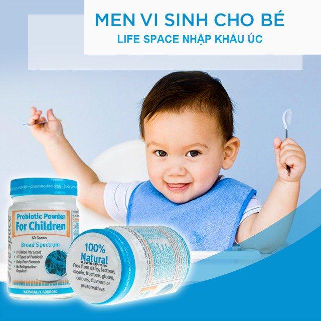 Men vi sinh Úc Life Space Probiotic Powder for Children nguồn gốc 100% thiên nhiên, cung cấp đến 8 tỷ lợi khuẩn và 10 loại men vi sinh khác nhau giúp cho bé yêu có sức đề kháng tốt nhất.