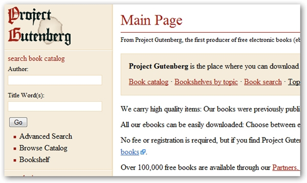 Giao diện của Project Gutenberg