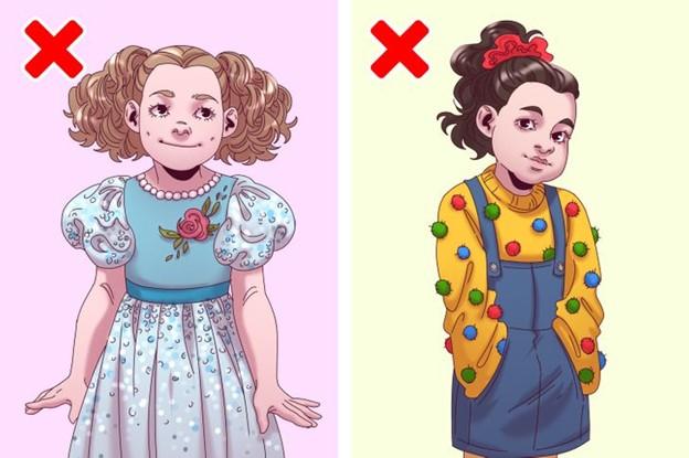 Không nên chọn các loại quần áo có nhiều nút trang trí, xê quin và các loại hạt đính cho trẻ