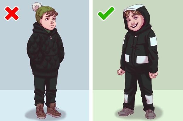 Không nên chọn quần áo tối màu không có khả năng phản chiếu ánh sáng cho trẻ