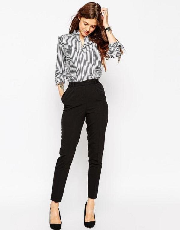 Nàng công sở có thể chọn quần ống đứng, phối kèm áo sơ mi đơn giản, mang vẻ mộc mạc mà vẫn toát lên nét lịch sự