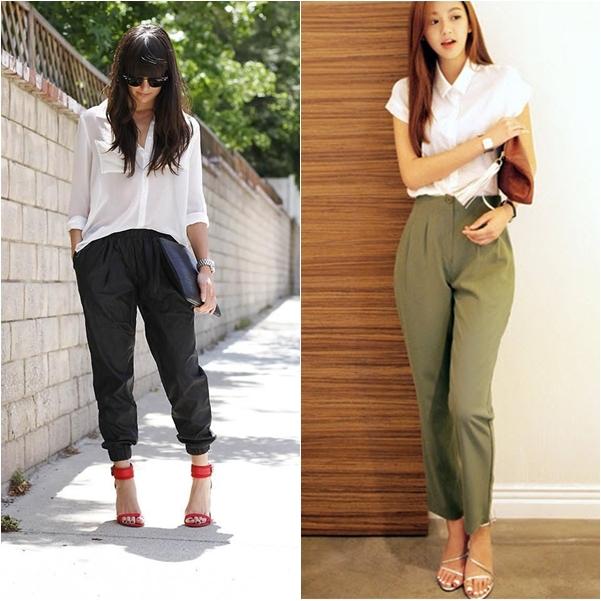 Dạng quần này rất tiện dụng là: Dễ mặc, trẻ trung lịch sự, mà lại không kém phần năng động.