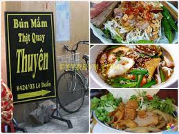 Entrance and vermicelli noodle dish at Ba Thuyen noodle restaurant