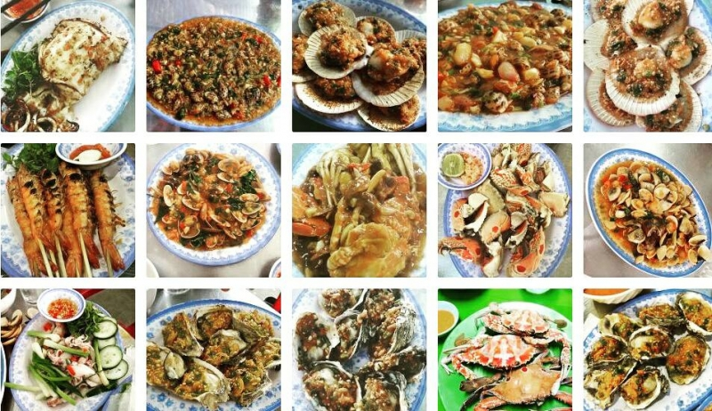 The dishes at Nam Danh seafood restaurant