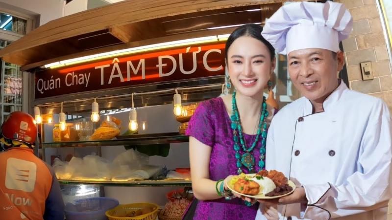 Diễn viên Angela Phương Trinh là bà chủ quán kiêm phụ trách Tâm Đức 2, bên cạnh là cha cô - đầu bếp chính của thương hiệu chay Tâm Đức