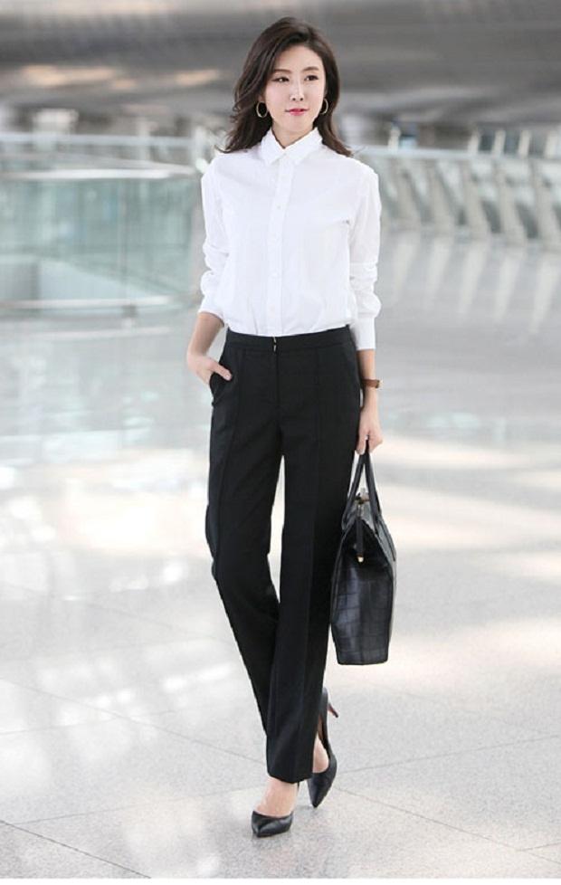 Chiếc quần tây đen luôn được nhiều chị em lựa chọn vì nó mang đến vẻ thanh lịch